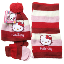 Children Scarf  Hat & Glove Sets boys girl Hello Kitty 3 pcs sets kids winter warm sets Clothes accessories(China (Mainland))