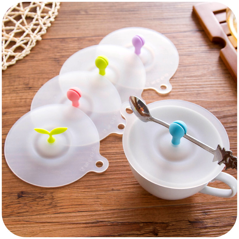 Be hanging food grade green silicone lid, creative non-toxic glass cover universal dust cover K5083(China (Mainland))