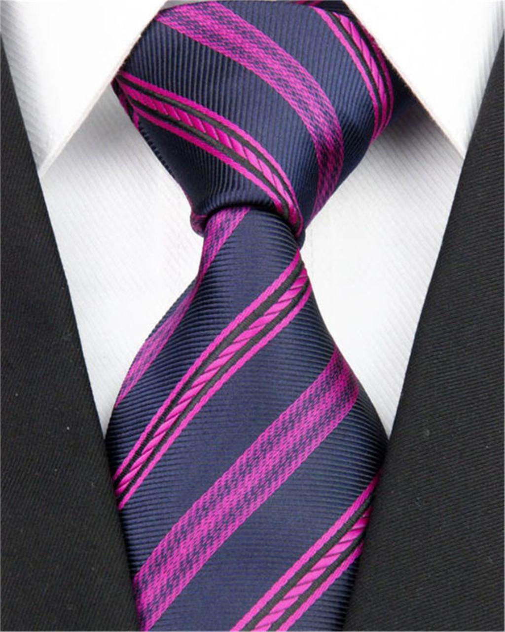 Men Necktie Purple Dark Blue Jacquard Woven Men's Accessories 100% Silk Striped Tie Business Party Prom Nt147(China (Mainland))