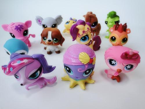 Original Lots of 10 pcs Littlest Pet Shop LPS Animal Figures New-Loose(China (Mainland))