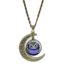 Wholesale Owl Moon Pendant Necklace Fashion Glass Cabochon Vintage Bronze Statement Chain Necklace For Women Jewelry(China (Mainland))