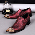 New British Style Luxury Genuine Leather Men Shoes Red Snakeskin Pointed Toe Wedding Business Suit Shoes
