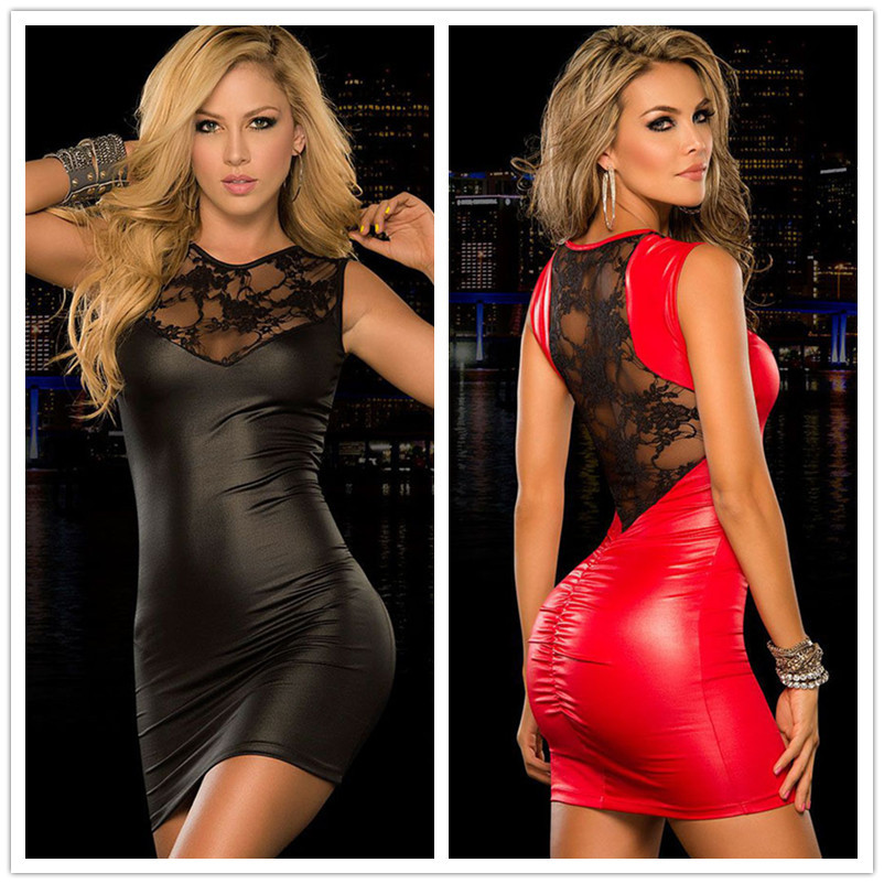 R70141 The good quality and best design women clothes black and red leather dress round neck lace skinny short party dresses(China (Mainland))