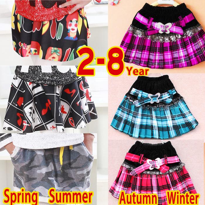 Free shipping 2015 new children skirts 2-8 year old spring girls skirt autumn and winter kids skirts winter baby child skirts(China (Mainland))