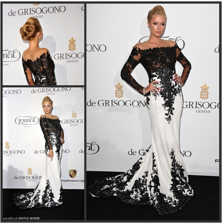 2015 Custom Made Evening Dress Met Gala Paris Hilton Black White Lace Applique Mermaid Gown Long Celebrity - Weddings & Events Collection store