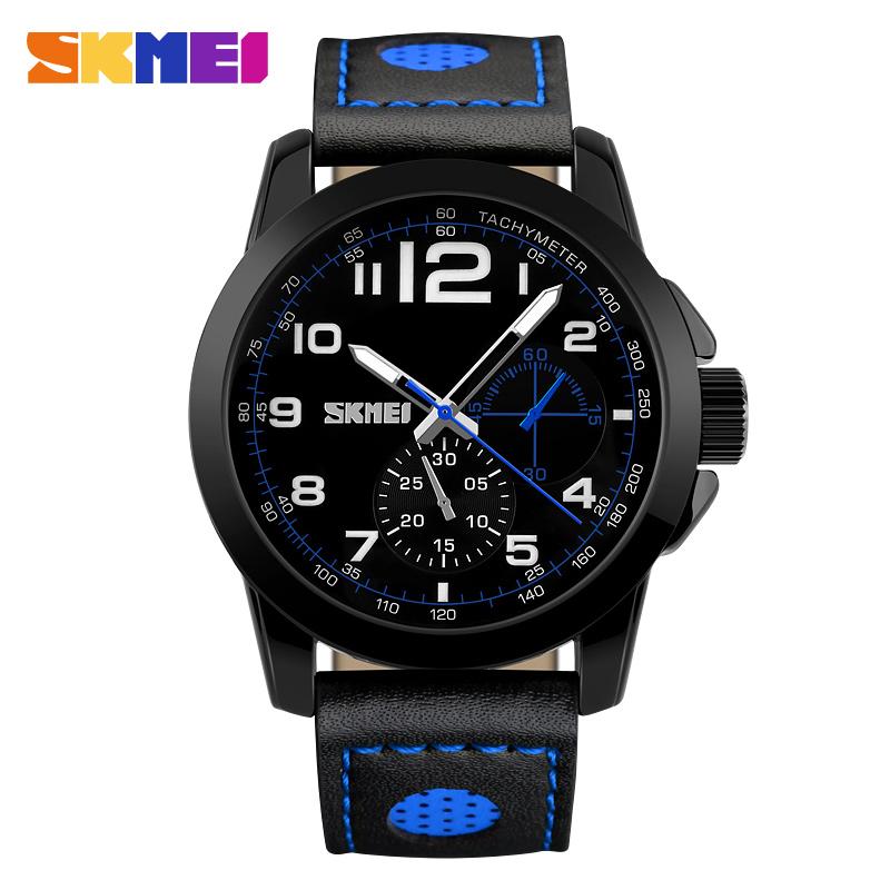 2016 New SKMEI Fashion Watches Men Luxury Brand Men's Quartz Genuine Leather Sports Watch Man Army Military Wrist Watch(China (Mainland))
