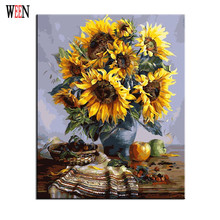 Sunflower Oli Painting Coloring by Numbers On Canvas DIY Hand Painted Cuadros Decoracion Cheap Oil Painting(China (Mainland))