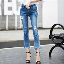 2017 Jeans For Women Flare Stretch Skinny Woman Hole Denim Tassel Ripped Blue Female Pants Calca Jeans Femme Plus Size 26-32(China (Mainland))