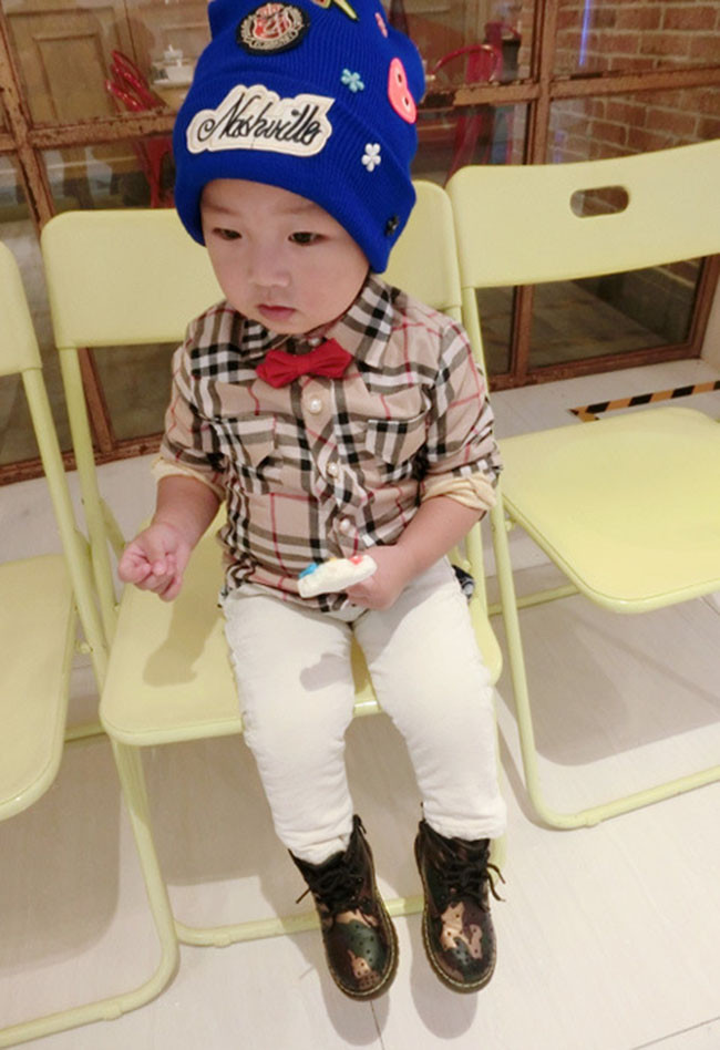 2014 Brand Boys Shirts Winter High Quality Children Blouse Long-sleeve Warm Velours Baby Girls Plaid Cotton Shirt Tops Blusas