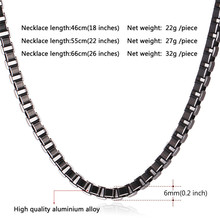 U7 Necklace Men Jewelry New Trendy Cool Black 316L Stainless Steel Colar Wholesale 2 Sizes 55