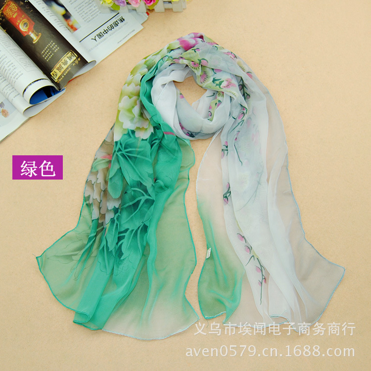 2015 New fashion chiffon scarf print autumn summer silk scarves shawl women W001(China (Mainland))