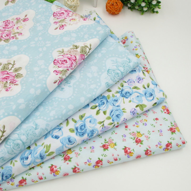4pcs lot 40cm 50cm light blue floral cotton patchwork fabric sewing tissus te - Lot de tissu patchwork ...
