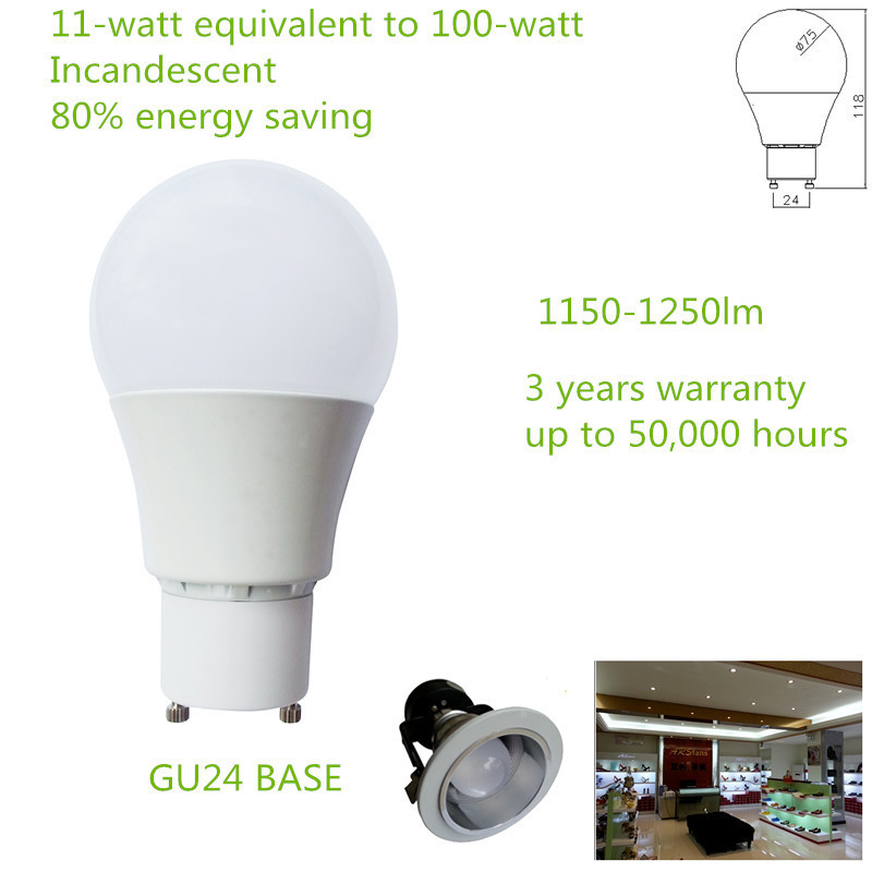 Epistar 5730 LED Chips Non Dimmable 90-265V 180 degree beam angle GU24 1150-1250lm 11W A19 LED BULB(China (Mainland))