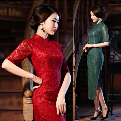 2015 cheongsam long design slim lace design long cheongsam vintage elegant double layer cheongsamОдежда и ак�е��уары<br><br><br>Aliexpress