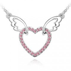 Free shipping Fashion lucky Blink Angel' heart Necklace,Alloy colorful pendant,import man made diamond,Hot Jewelry women K031(China (Mainland))