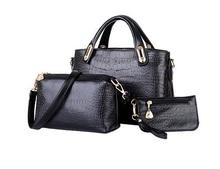 Женщины натуральная кожа сумки крокодиловая кожа узор марка мешок роскошь женщины дизайнер сумочка сумка-мессенджер + сумочка + портмоне 3 комплект