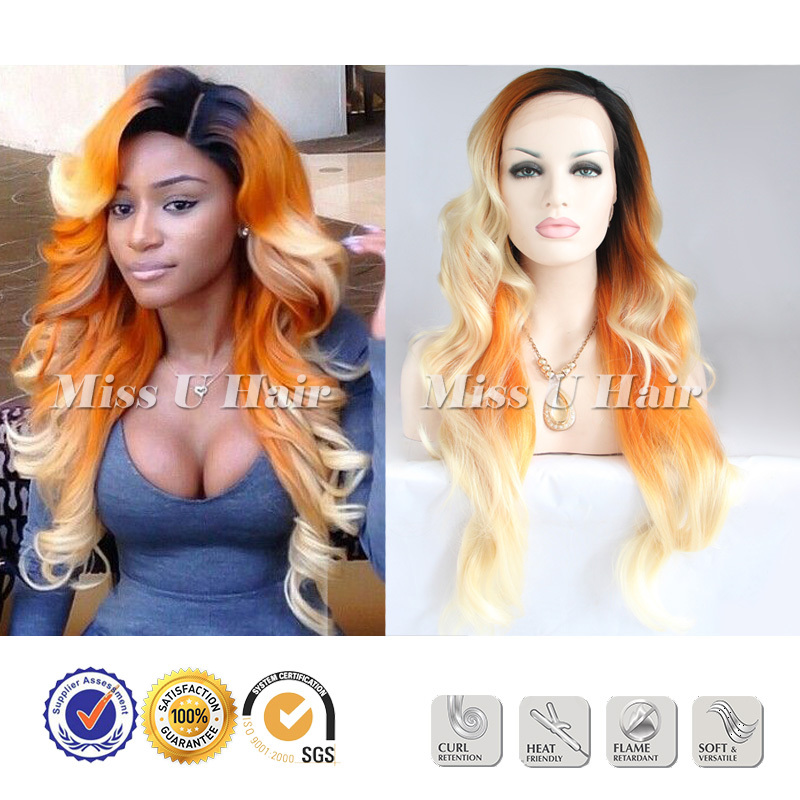 Cheap flame retardant fiber good wig black orange blonde ombre wig lace front(China (Mainland))