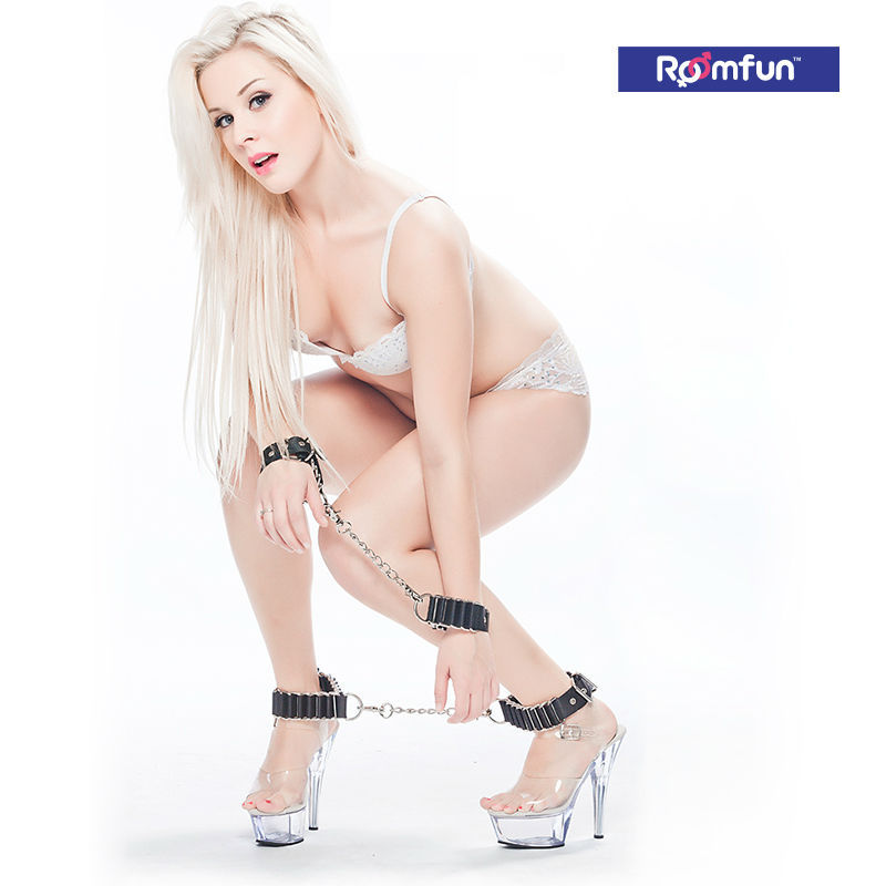 Roomfun Leather&amp;Metal Handcuffs+Ankle Cuffs Set Iron Chain Shackle Joy Dom&amp;Sub Bondage Kit Adult BDSM Sex Fetish Toy<br><br>Aliexpress