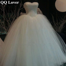 QQ Lover 2017 Luxury Ball Gown Bandage Wedding Dress Sweetheart Lace Pearls Sequins Bridal Wedding Gown Vestido De Noiva Q2604(China (Mainland))