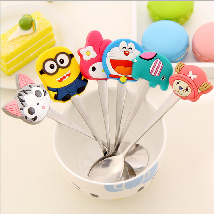 Cartoon Cute Animal Stainless Steel Tea Coffee Spoon Kitchen Tableware Action Figure Model Toy Doll For Collection(China (Mainland))