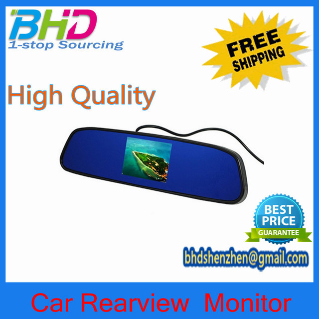 "3.5"" TFT LCD AV 2-Way Input Car Rearview Monitor Anti-glare mirror to make safer driving  Free Shipping"