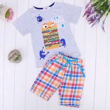 New 2015 brand cartoon children clothing set plaid kids shorts + t shirts 2pcs boys sport suit fit for 3-14year 31(China (Mainland))