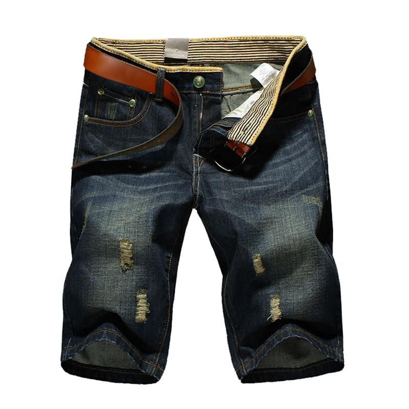 [해외]남자 & 39;의 청바지 무릎 길이 고품질 구멍 패션 캐주얼..