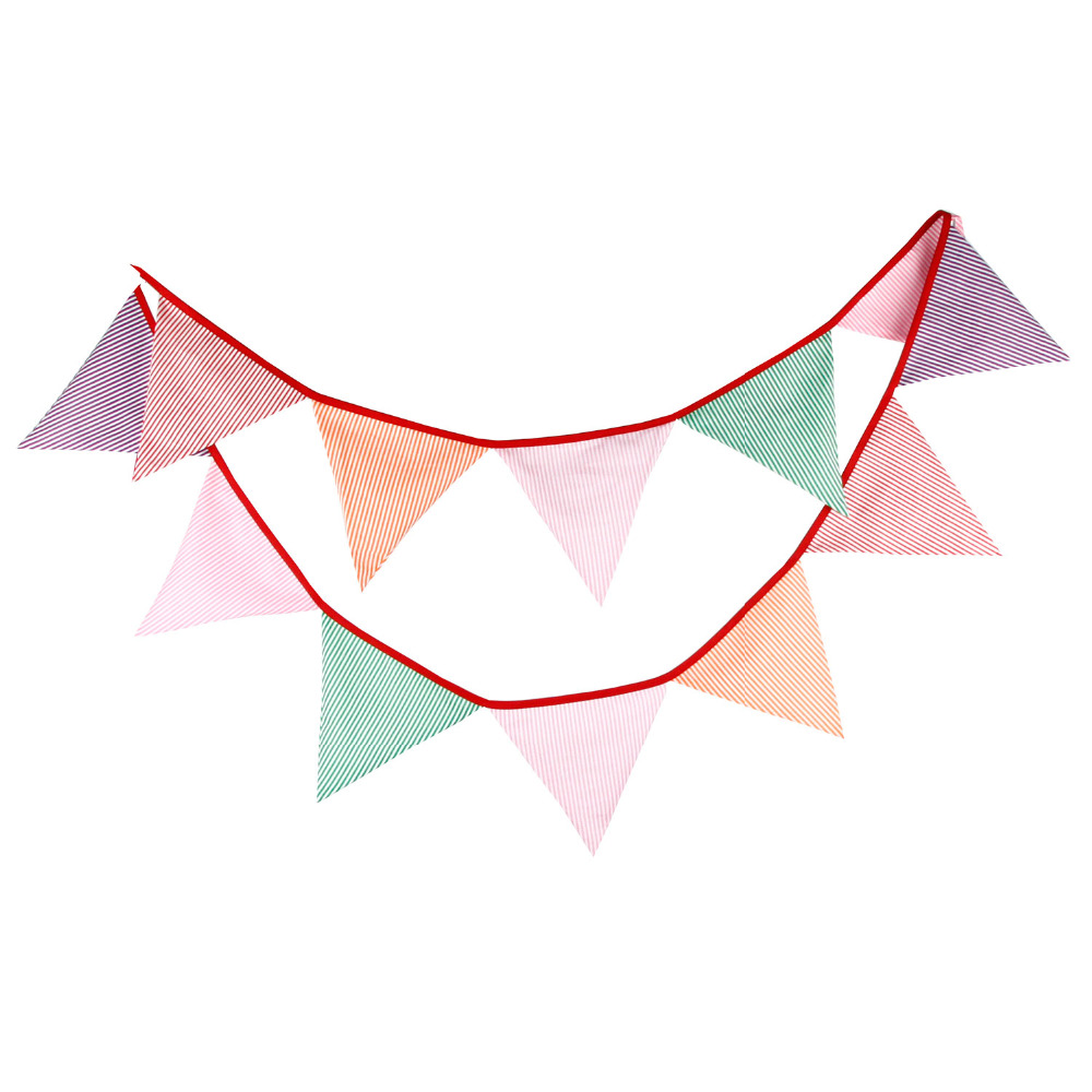 New 12 Flags - 3.2M Cotton Fabric Banners Vintage Bunting Decor children camping Garland birthday Party Decoration bunting(China (Mainland))