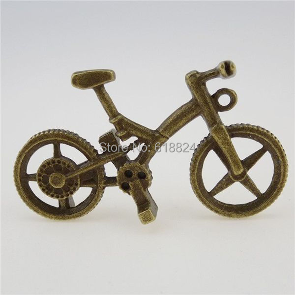 (3 pieces/lot) 12833 Vintage Bronze Tone Alloy Sport Cycle Bike Bicycle Pendant Large Dangle - jewelry style store