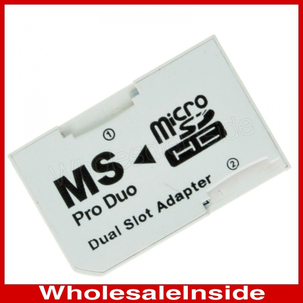 Micro SD SDHC TF Card To Memory Stick MS Pro Duo Dual Slot Adapter for Sony Cybershot Camera PSP(China (Mainland))