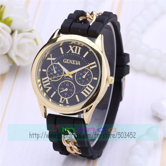 100pcs/lot New Arrival GENEVA Brand Silicone Watch Wrap Quartz Dress Watch Wholesale Price Casual Wristwatch Jelly Watch(China (Mainland))
