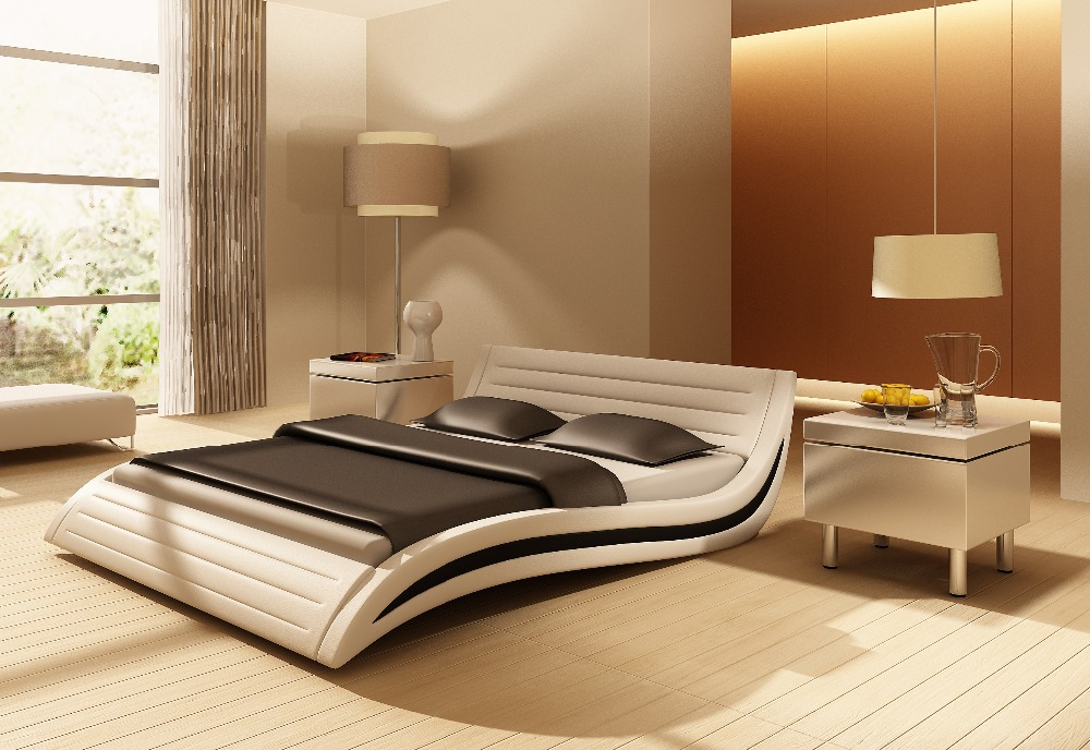 bedroom furniture soft bed king size leather bed(China (Mainland))