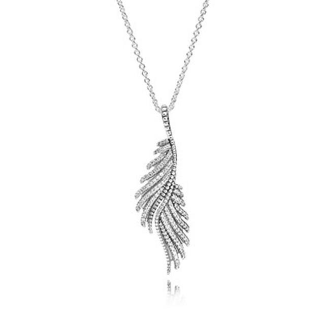 Ожерелье 100% серебро 925 ювелирных изделий величественный перо проложить CZ кулон длина цепи 70 см для женщин DIY мода ювелирных изделий