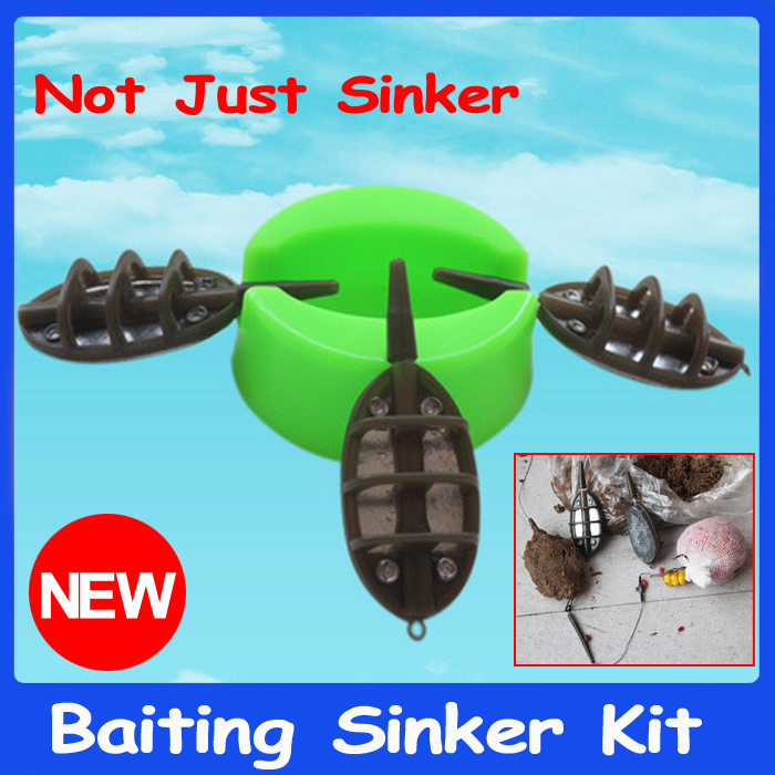 1 Set 3*1OZ / 30g New Design Baiting Lead Sinker with 1 Bait Loading Mould for Carp Fishing Bait Casting Hair Rig Weights Tool(China (Mainland))
