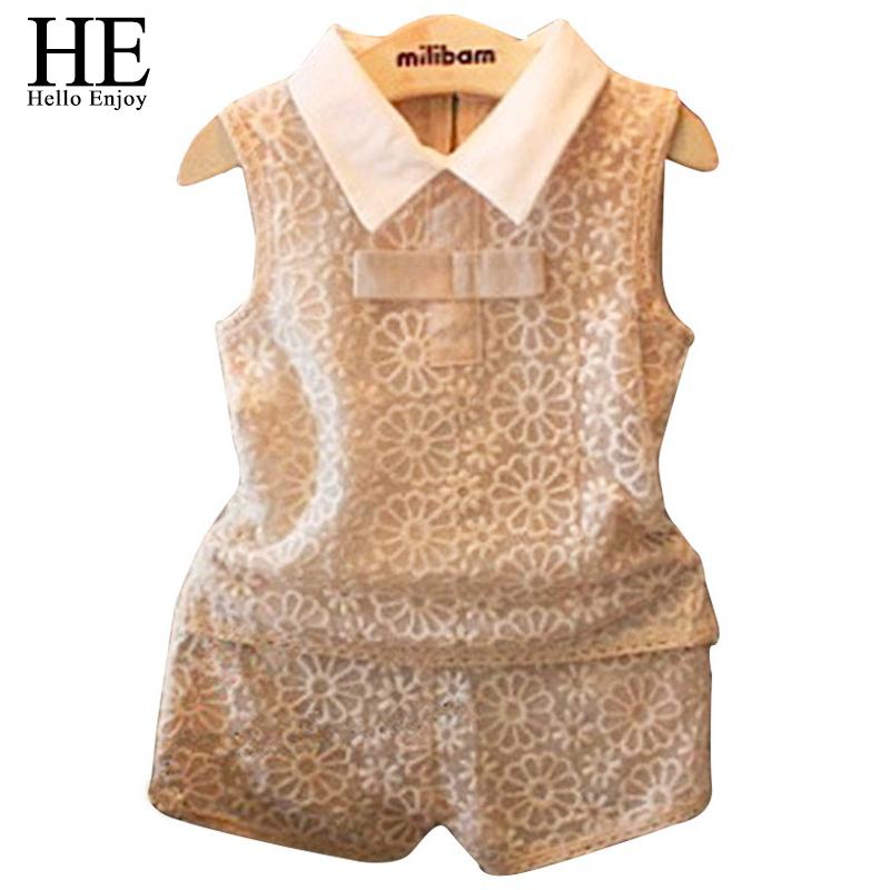 Гаджет  Baby girls clothing summer style fashion set girl lapel sleeveless shirt + short trousers two sets Children