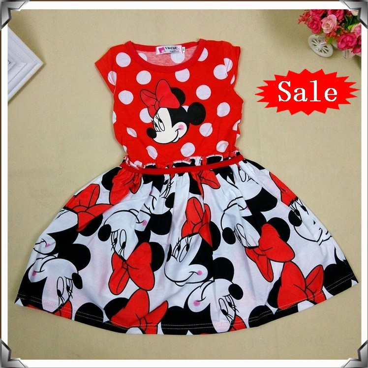 2015 New Summer Girls Dress Tutu Princess Baby Minnie Mouse Dress Dot Baby Casual Paty Dress for 2-6 Years Kid Dress D011(China (Mainland))