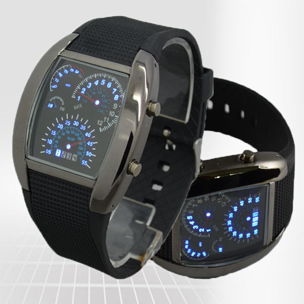 LED Sytle Men Watch Sports Car Meter Arrival Silicone Strap Watch freeshipping Inventory promotion(China (Mainland))