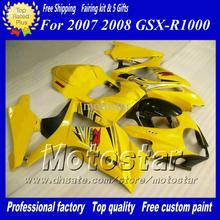 bodywork set fairing 100% fit SUZUKI GSXR 1000 K7 K8 fairings 2007 2008 GSXR1000 Injection molding yellow black racing fa - Xinfeng plastic products Co., Ltd store