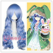 Free Shipping 65cm DATE A LIVE Yoshino Anime Party Wig Synthetic Hair Wavy Cruly Long Light Blue Cosplay Wig(China (Mainland))
