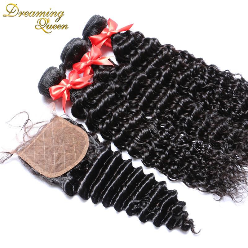 --3 Bundles Virgin Hair Weft Deep Wave With Silk Base Closure 7A Human Hair  Weave Wavy Hair Extensions With Silk Closure<br><br>Aliexpress