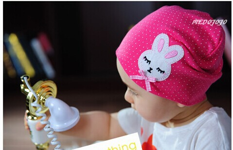 M15 ! 2014 New Cartoon Rabbit & Dot Baby Infant Skull Hats Beanies Cotton Brand - Big Factory Retail Store -Delia-No1 store
