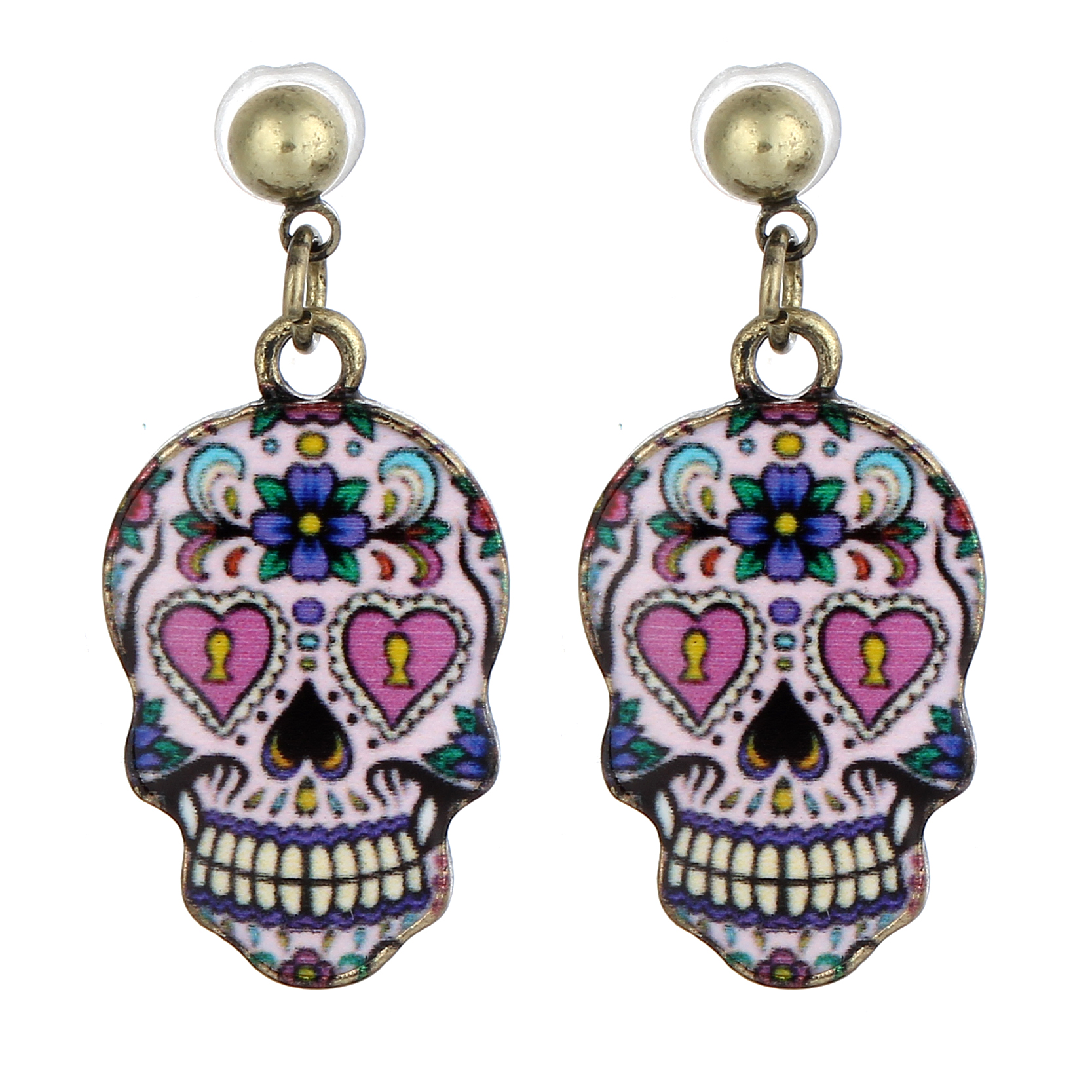 Vintage Skull Stud Earrings Fashion Golden Plated Beads Flower Long Earing Fashion Jewelry Summer Style Accessories 2016(China (Mainland))