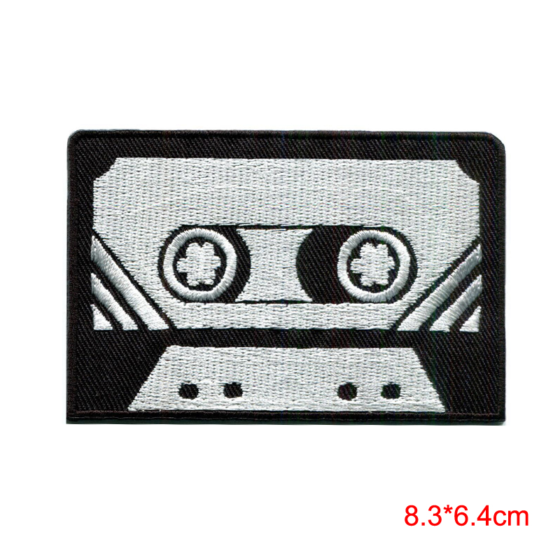 Cassette tape retro seventies music embroidered applique iron-on patch(China (Mainland))