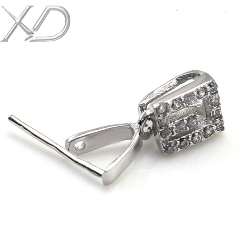 xd 925 sterling silver pinch clip bail pendant clasp jade