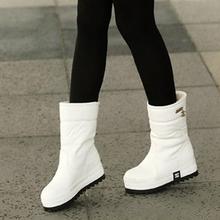 Blanco como la nieve botas de invierno de color sólido breves zapatos de plataforma de las mujeres antideslizantes térmicas impermeables botas hasta la rodilla(China (Mainland))