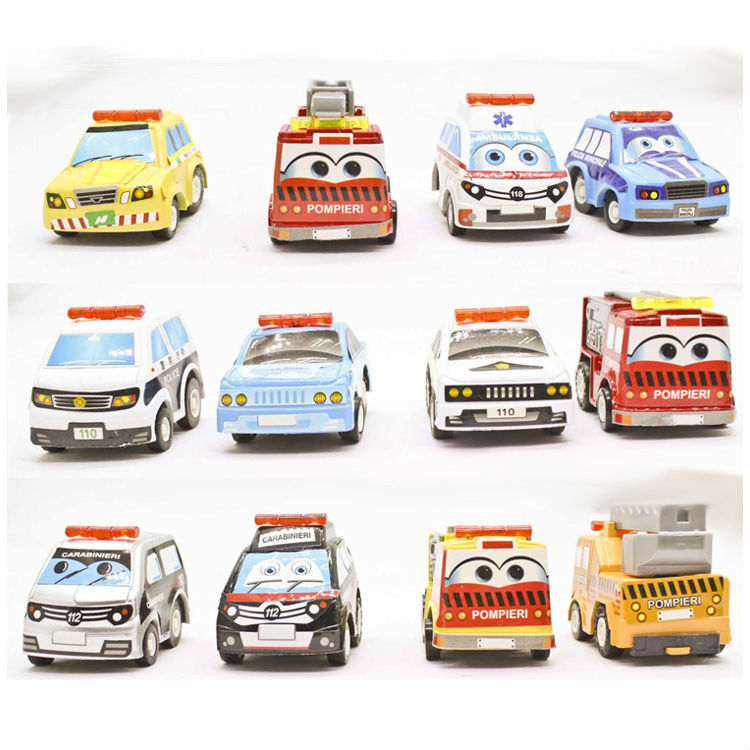 baby toys car 12 pcs/lot police cars collectible Diecast Toys Fire alarm rescue ambulance vehicles pull-back vehicles brinquedos(China (Mainland))