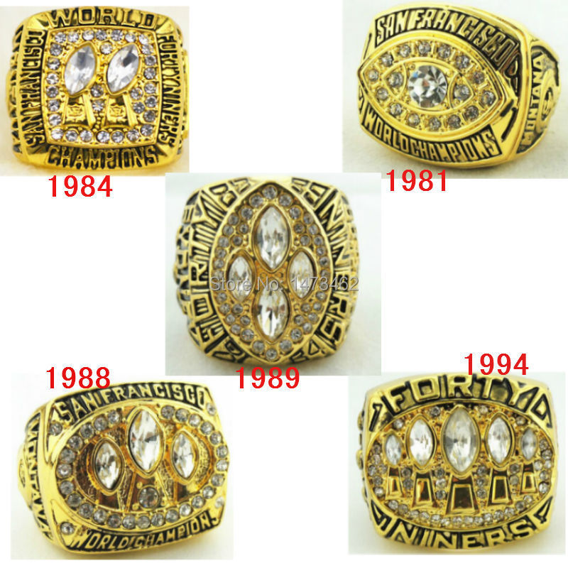 18k gold plated1981 1984 1988 1989 1994 San Francisco 49ers super bowl replica world championship rings(China (Mainland))