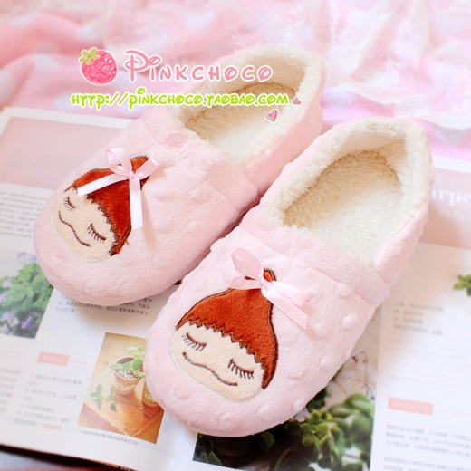 Pear doll meatball head winter soft outsole slippers at home shoes floor women's handbag cotton boots women shoes(China (Mainland))
