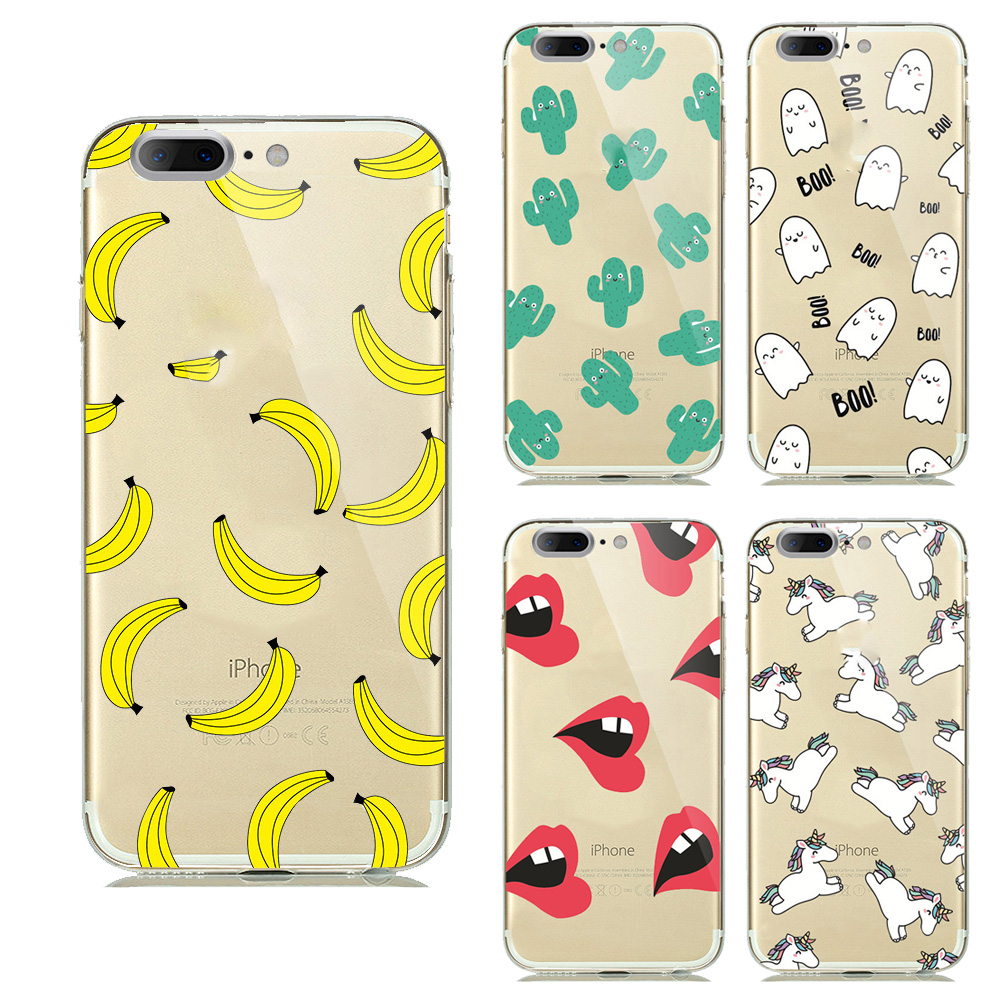 Banana and patches of pineapple TPU phone Design Cases For Iphone 7 case Sexy attractive Lips Adorable fruit phone cases(China (Mainland))