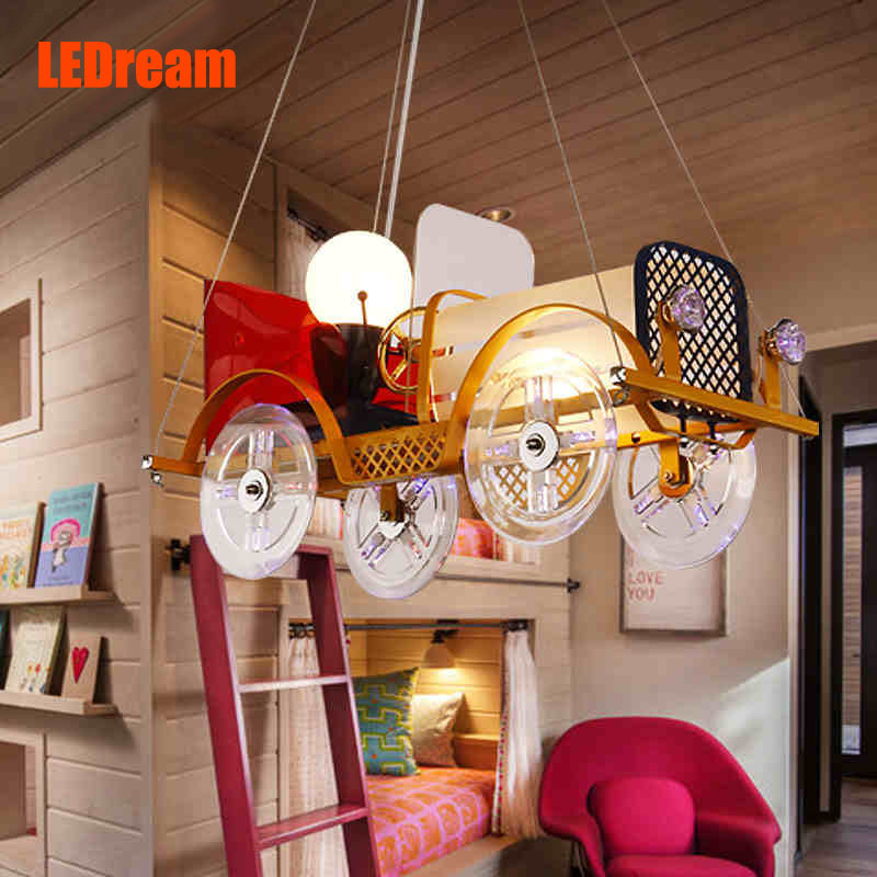 Creative cartoon car chandelier LED to children room children's clothing store lighting Boys and girls bedroom lamps and lantern(China (Mainland))